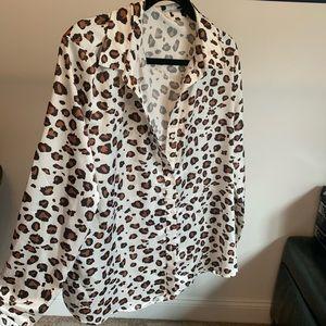 leopard print silky top